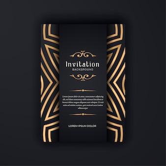 Plantilla de invitación de boda ornamental de oro