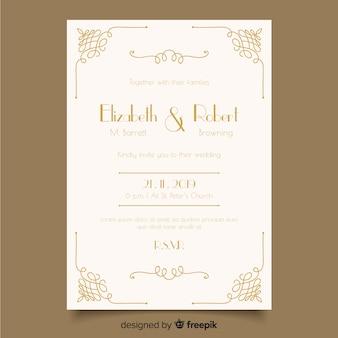 Plantilla de invitación de boda ornamental retro
