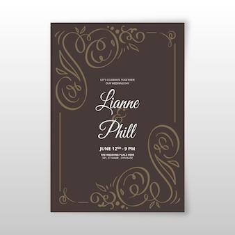 Plantilla de invitación de boda ornamental vintage