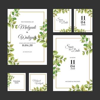 Plantilla de invitación de boda de ornamento floral decorativa