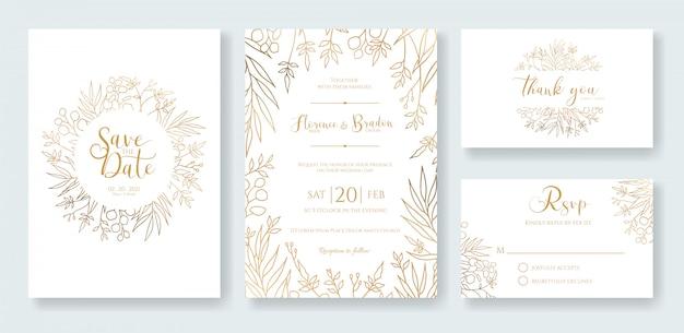 Plantilla de invitación de boda de oro.