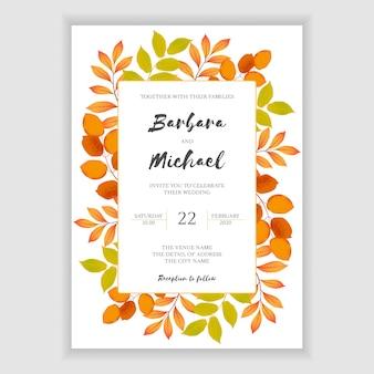 Plantilla de invitación de boda otoño floral