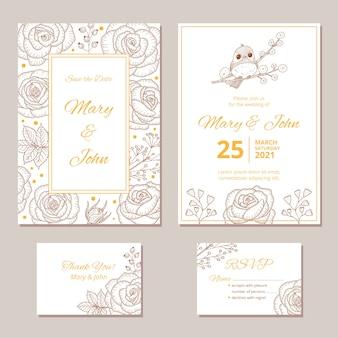 Plantilla de invitación de boda de papelería