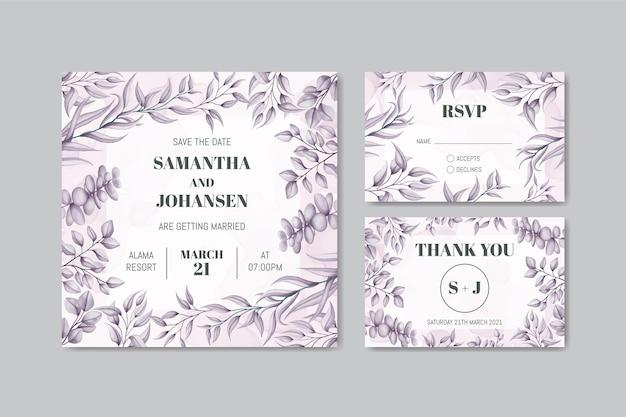 Plantilla de invitación de boda con paquete de conjunto de marco de hojas dibujadas a mano