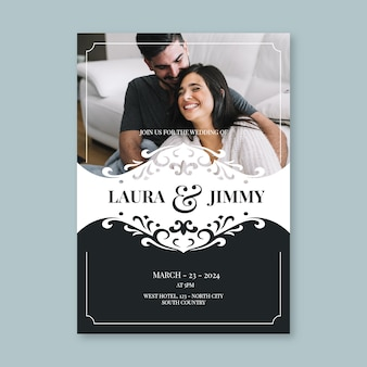 Plantilla de invitación de boda con pareja feliz