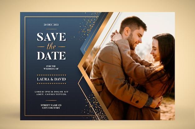 Plantilla de invitación de boda con pareja