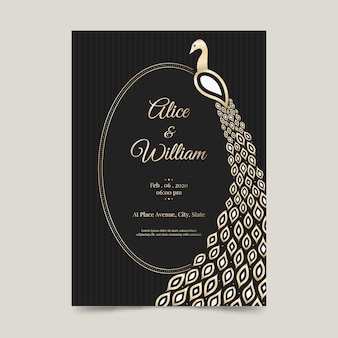 Plantilla de invitación de boda con un pavo real