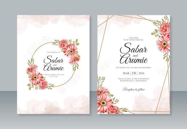 Plantilla de invitación de boda con pintura de acuarela