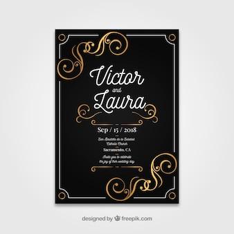 Plantilla de invitación de boda plana con estilo vintage