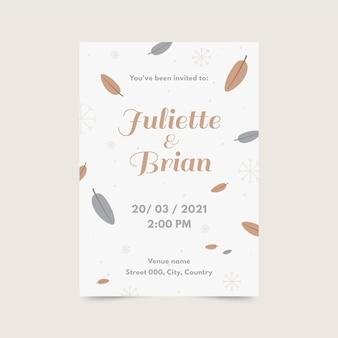 Plantilla de invitación de boda plana