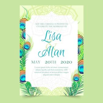 Plantilla de invitación de boda con plumas de pavo real