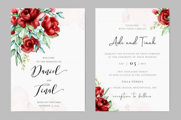 Plantilla de invitación de boda preciosa