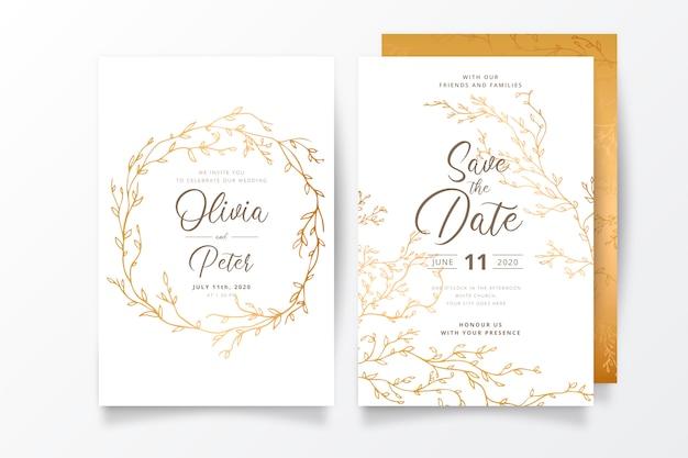 Plantilla de invitación de boda con ramas doradas