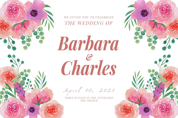 Plantilla de invitación de boda ramos de flores