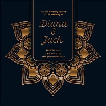 Plantilla de invitación de boda real con diseño de mandala