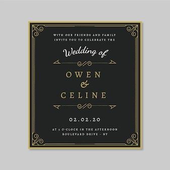 Plantilla de invitación de boda retro con adornos dorados