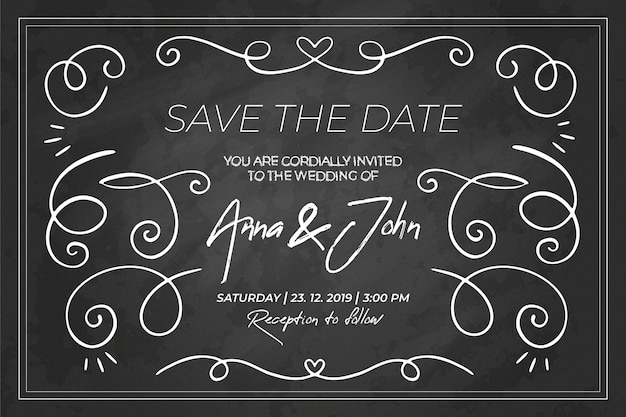 Plantilla de invitación de boda retro pizarra