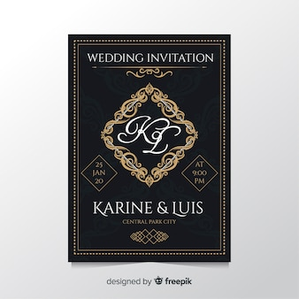 Plantilla de invitación de boda retro