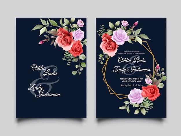 Plantilla de invitación de boda rosa rosa roja dibujada a mano