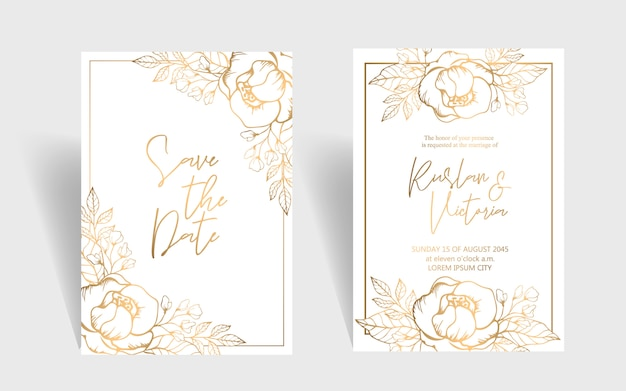 Plantilla de invitación de boda con rosas doradas y hojas