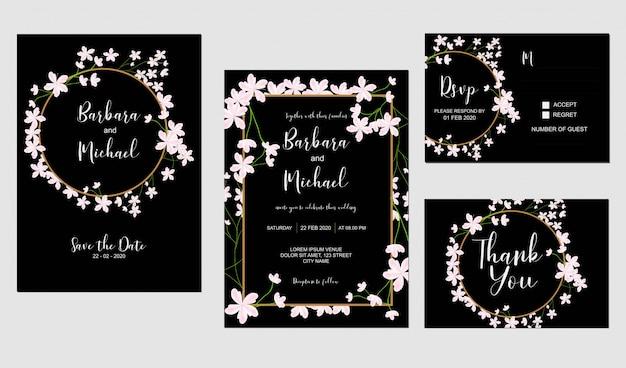 Plantilla de invitación de boda sakura flor de cerezo