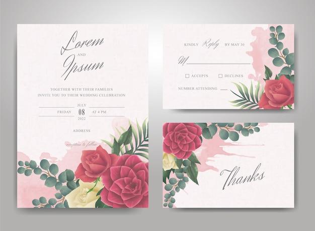 Plantilla de invitación de boda con salpicaduras de acuarela y elegante arreglo de flores y hojas