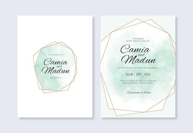 Plantilla de invitación de boda con salpicaduras geométricas de oro y acuarela
