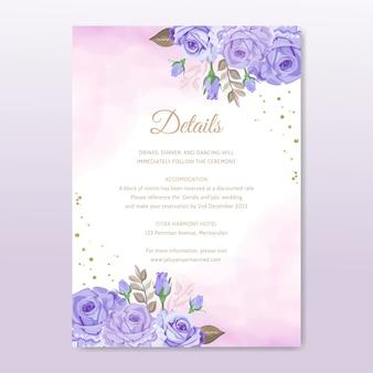 Plantilla de invitación de boda simple con hermoso vector floral