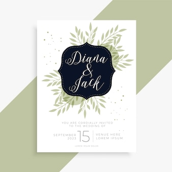 Plantilla de invitación de boda simple hojas verdes