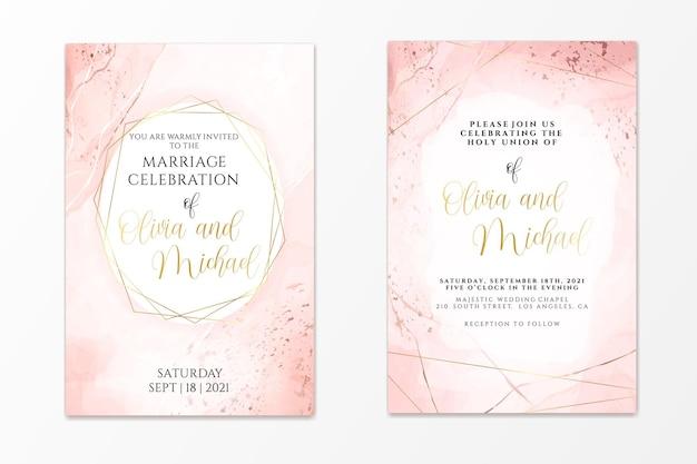Plantilla de invitación de boda sobre fondo de acuarela líquida rosa polvoriento con líneas doradas y marco