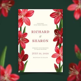 Plantilla de invitación de boda con tema floral