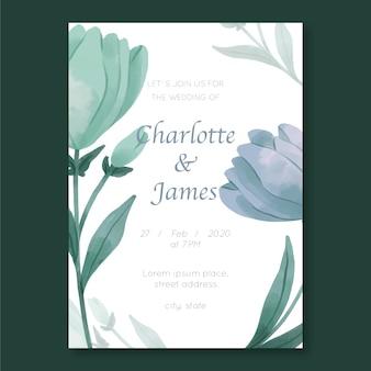 Plantilla de invitación de boda con tema de flores