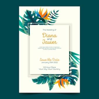 Plantilla de invitación de boda tropical