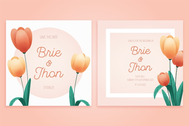 Plantilla de invitación de boda con tulipanes