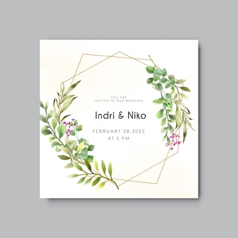 Plantilla de invitación de boda con vegetación eucalipto acuarela