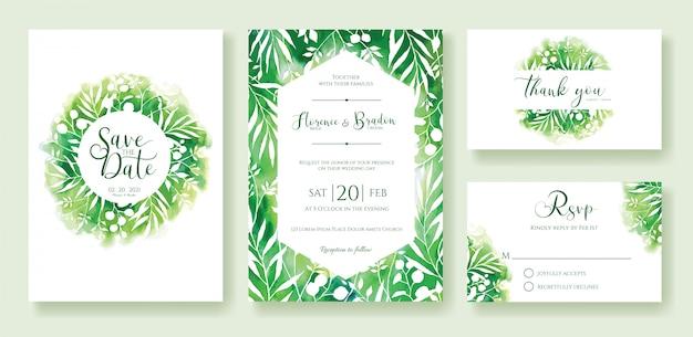 Plantilla de invitación de boda verde.