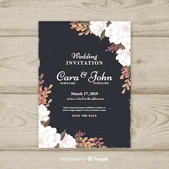 Plantilla de invitación de boda vintage floral