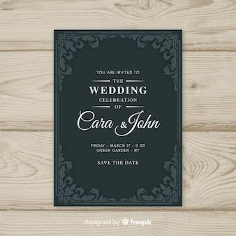 Plantilla de invitación de boda vintage ornamental