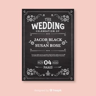 Plantilla de invitación de boda vintage en pizarra