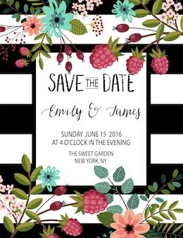 Plantilla de invitación de boda.