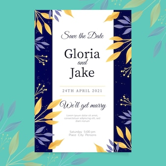 Plantilla de invitación de compromiso elegante con hojas doradas