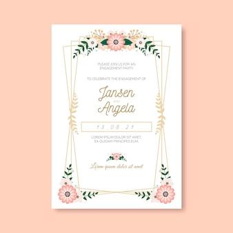 Plantilla de invitación de compromiso floral