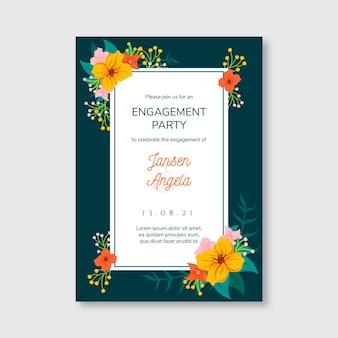 Plantilla de invitación de compromiso con flores