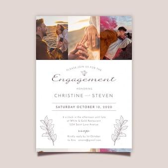 Plantilla de invitación de compromiso con foto