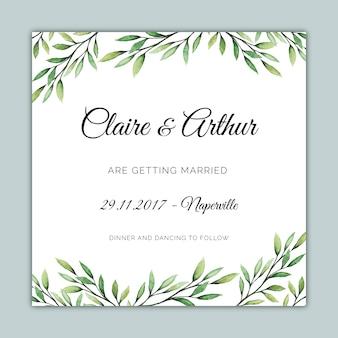 Plantilla de invitación cuadrada de la boda con ilustraciones botánicas