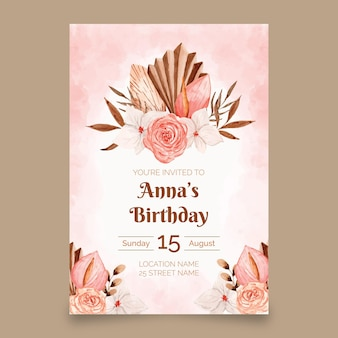Plantilla de invitación de cumpleaños de acuarela boho