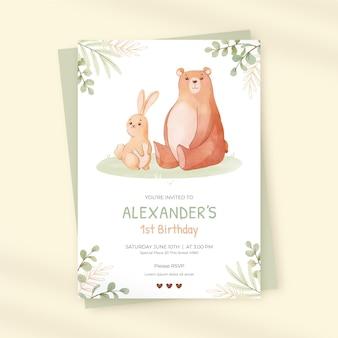 Plantilla de invitación de cumpleaños de animales de acuarela pintada a mano
