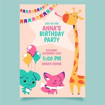Plantilla de invitación de cumpleaños de animales dibujados a mano