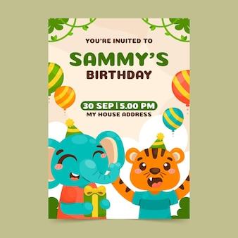 Plantilla de invitación de cumpleaños de animales de dibujos animados