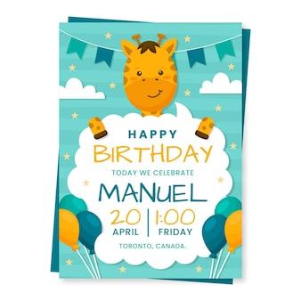 Plantilla de invitación de cumpleaños de animales planos